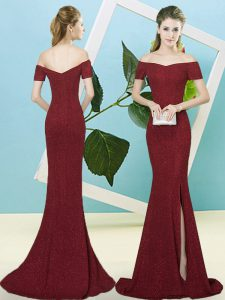 Spectacular Burgundy Short Sleeves Sequins Zipper Prom Evening Gown