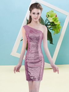 Fuchsia Column/Sheath Sequins Evening Dress Zipper Sequined Sleeveless Mini Length