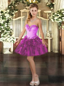 Fuchsia Lace Up Prom Dresses Beading and Ruffles Sleeveless Mini Length