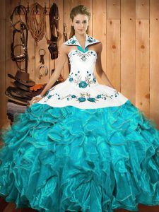 Custom Design Embroidery and Ruffles Quinceanera Dress Aqua Blue Lace Up Sleeveless Floor Length