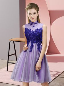 Fantastic Knee Length Lace Up Damas Dress Lavender for Prom and Party and Wedding Party with Appliques