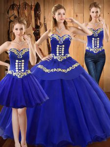 Stunning Blue Sleeveless Floor Length Embroidery Lace Up Quinceanera Dress