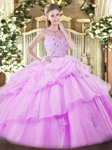Spectacular Floor Length Lilac Sweet 16 Dresses Tulle Sleeveless Beading and Ruffles and Pick Ups