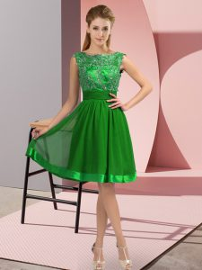 Sweet Green Empire Scoop Sleeveless Chiffon Knee Length Backless Appliques Dress for Prom