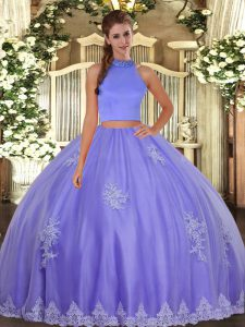 Lavender Tulle Backless 15 Quinceanera Dress Sleeveless Floor Length Beading and Appliques