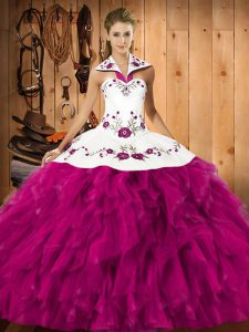 On Sale Floor Length Fuchsia Quinceanera Gown Satin and Organza Sleeveless Embroidery and Ruffles
