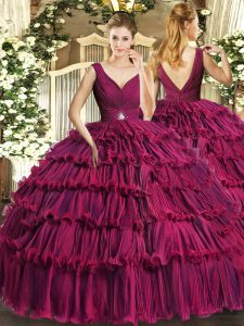Hot Selling Fuchsia Backless Quinceanera Gown Beading and Ruffled Layers Sleeveless Floor Length