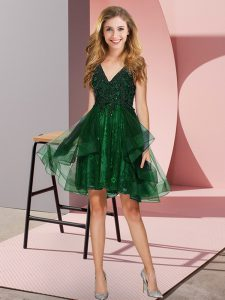 Dark Green Tulle Backless Dama Dress Sleeveless Knee Length Appliques and Ruffles