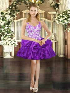 Lovely Beading and Ruffles Prom Evening Gown Purple Lace Up Sleeveless Mini Length