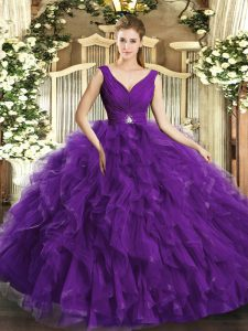 Purple Sleeveless Floor Length Beading and Ruffles Backless Sweet 16 Dresses