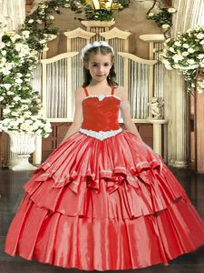 Great Straps Sleeveless Glitz Pageant Dress Floor Length Appliques and Ruffled Layers Coral Red Organza