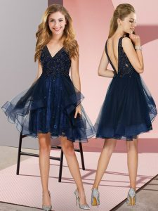 Navy Blue Tulle Backless V-neck Sleeveless Knee Length Quinceanera Dama Dress Appliques and Ruffles