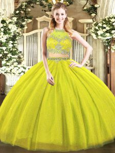 Floor Length Olive Green Quinceanera Gown Tulle Sleeveless Beading