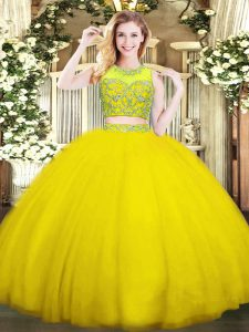 Gold Two Pieces Tulle Scoop Sleeveless Beading Floor Length Zipper Ball Gown Prom Dress