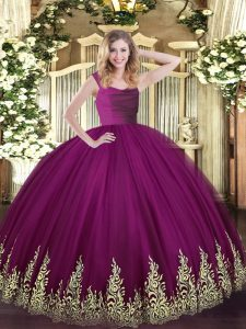 Fuchsia Zipper 15 Quinceanera Dress Lace and Appliques Sleeveless Floor Length