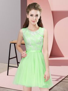 Tulle Side Zipper Scoop Sleeveless Mini Length Bridesmaid Dresses Lace
