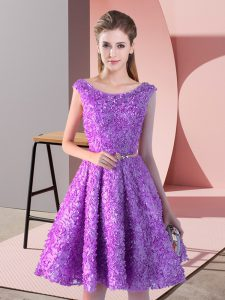 Suitable Lavender Lace Up Prom Evening Gown Belt Sleeveless Knee Length
