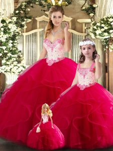 Popular Red Sweetheart Neckline Beading and Ruffles Ball Gown Prom Dress Sleeveless Lace Up