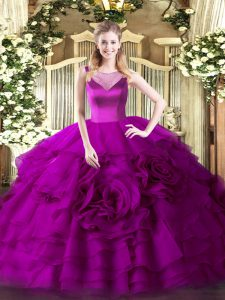 Delicate Fuchsia Sleeveless Organza Side Zipper Quinceanera Gowns for Sweet 16 and Quinceanera