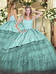 Sleeveless Embroidery and Ruffled Layers Zipper Quinceanera Dress