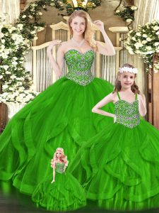 Artistic Green Sleeveless Organza Zipper Quinceanera Dresses for Military Ball and Sweet 16 and Quinceanera