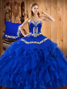 Exquisite Blue Ball Gowns Sweetheart Sleeveless Satin and Organza Floor Length Lace Up Embroidery and Ruffles Quinceanera Dresses