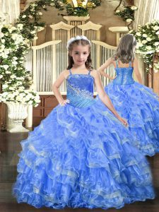 Straps Sleeveless Pageant Dress Womens Floor Length Beading and Ruffled Layers Baby Blue Organza