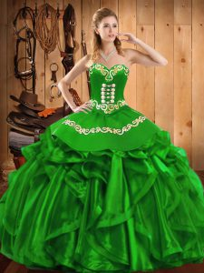 Sleeveless Floor Length Embroidery and Ruffles Lace Up Vestidos de Quinceanera with Green
