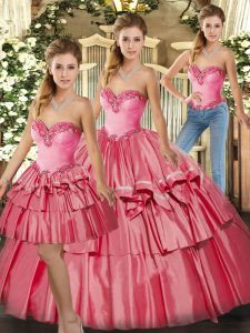 Sophisticated Organza Sweetheart Sleeveless Lace Up Beading and Ruffled Layers Quinceanera Dress in Watermelon Red