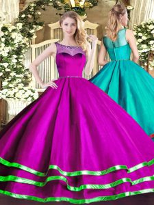 Fuchsia Ball Gowns Organza Scoop Sleeveless Beading and Ruffled Layers Floor Length Lace Up Vestidos de Quinceanera
