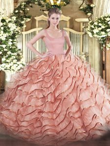 Ball Gowns Sleeveless Rust Red Quinceanera Gown Brush Train Zipper