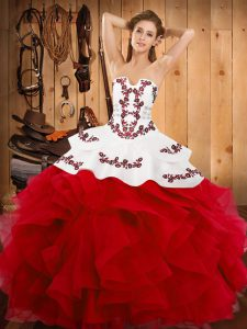 Beauteous White And Red Lace Up Quinceanera Gowns Embroidery and Ruffles Sleeveless Floor Length