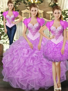 Sumptuous Lilac Straps Lace Up Beading and Ruffles Quinceanera Dresses Sleeveless