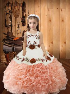 Peach Ball Gowns Fabric With Rolling Flowers Straps Sleeveless Embroidery and Ruffles Floor Length Lace Up Little Girl Pageant Dress