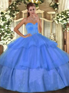 Edgy Baby Blue Lace Up Sweet 16 Quinceanera Dress Beading and Ruffled Layers Sleeveless Floor Length