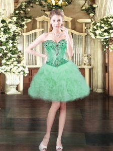 Sexy Apple Green Ball Gowns Beading and Ruffles and Pick Ups Dress for Prom Lace Up Organza Sleeveless Mini Length