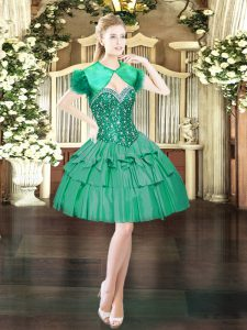 Deluxe Dark Green Lace Up Dress for Prom Beading Sleeveless Mini Length