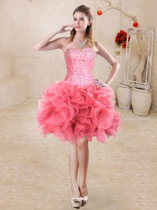 Pretty Watermelon Red Lace Up Sweetheart Beading and Ruffles Prom Dresses Organza Sleeveless