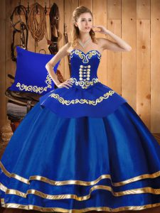 Blue Sweet 16 Dress Military Ball and Sweet 16 and Quinceanera with Embroidery Sweetheart Sleeveless Lace Up