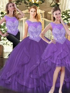 Fashion Organza Scoop Sleeveless Zipper Beading and Ruffles 15 Quinceanera Dress in Purple