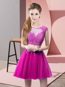 Tulle Scoop Sleeveless Zipper Appliques in Fuchsia