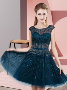 Unique Navy Blue Empire Beading Prom Party Dress Backless Tulle Sleeveless Knee Length