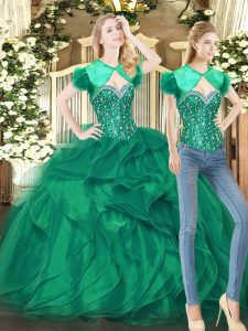 Stylish Dark Green Ball Gown Prom Dress Military Ball and Sweet 16 and Quinceanera with Beading and Ruffles Sweetheart Sleeveless Lace Up