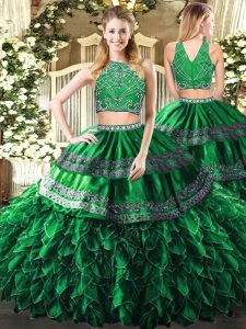 Dark Green High-neck Zipper Beading and Ruffles Sweet 16 Dress Sleeveless
