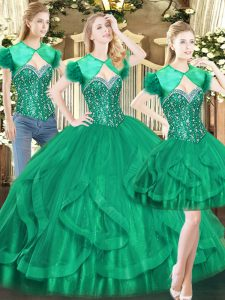 Floor Length Lace Up 15th Birthday Dress Dark Green for Military Ball and Sweet 16 and Quinceanera with Beading and Ruffles