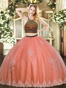 Floor Length Coral Red Quinceanera Gowns Tulle Sleeveless Beading and Appliques