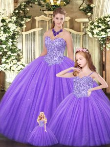 Shining Eggplant Purple Tulle Lace Up Ball Gown Prom Dress Sleeveless Floor Length Beading