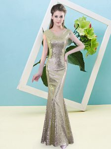 V-neck Cap Sleeves Dress for Prom Floor Length Sequins Yellow Sequined