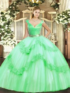 Floor Length Apple Green 15th Birthday Dress Tulle Sleeveless Beading and Appliques