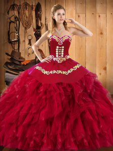 Romantic Wine Red Ball Gowns Satin and Organza Sweetheart Sleeveless Embroidery and Ruffles Floor Length Lace Up 15 Quinceanera Dress